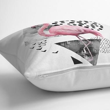 Real Homes Pembe Flamingo Özel Tasarım 3'lü Kırlent Kılıfı Seti Renkli